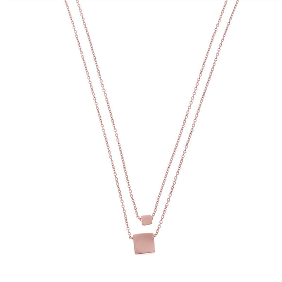 Fashion Square Pendant Double Chain Necklace Creative Geometric Necklace Jewelry for Women (Rose Gold)