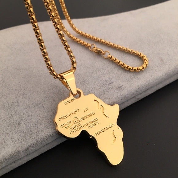 Africa Map Jewelry 18K Gold Plated Necklace African Country Pendant Chain - The Rogue's Clothes
