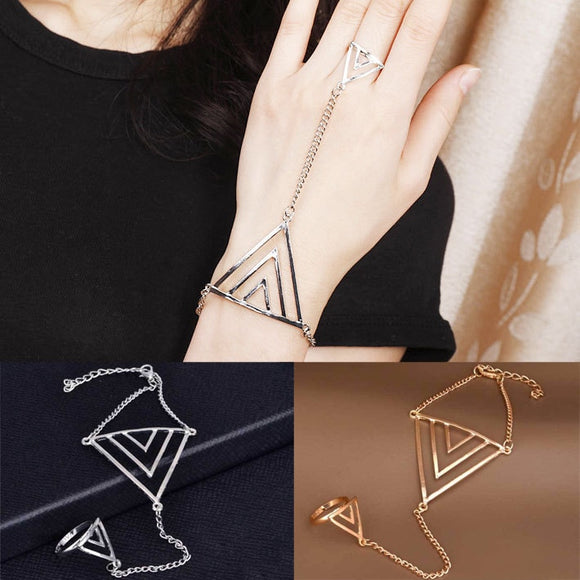 2018 Direct Selling Zinc Bone Fashion Of Finger Bracelets Golden Triangle Hand Chain Women New Punk Style Harness Bangles For