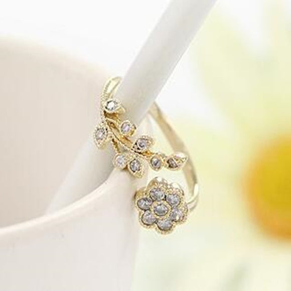 Korean Twisted Leaves Flower Rhinestone Open Ring Rose Gold Color Finger Rings For Women Statement Adjustable Ring 4RD04