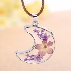 Transparent  Glass Moon Pendant Necklace Women Red Purple Dried Flower Rope Chain Necklace Jewelry Child Birthday gift 3575