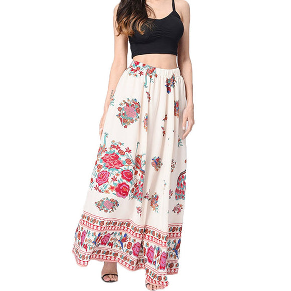Women Boho Maxi Skirt Beach Floral Holiday Summer High Waist Long Skirt