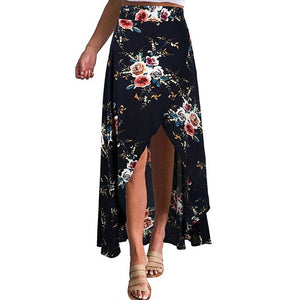 Women High-Waisted Boho Asymmetrical Split Ends Printing Sandy Beach Skirt