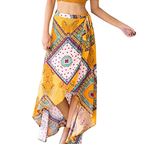 Women High-Waisted Boho Asymmetrical Hem Tie up Print Wrap Skirt