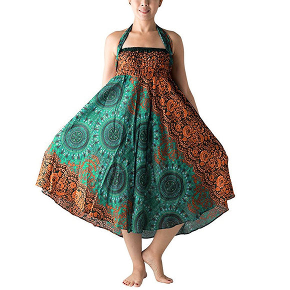 Women Long Hippie Bohemian Gypsy Boho Flowers Elastic Floral Hlater Skirt