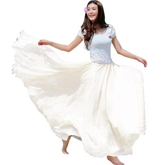 Maxi Long Bohemian Restore Women Shinning Chiffon Long Skirts
