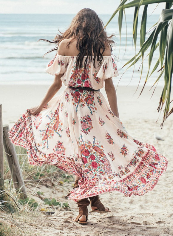 Bohemian Holiday Summer Beach Vestidos 2018 Gypsy Ethnic Women Off The Shoulder Ruffles Floral Boho Hippie Maxi Midi Dress - The Rogue's Clothes