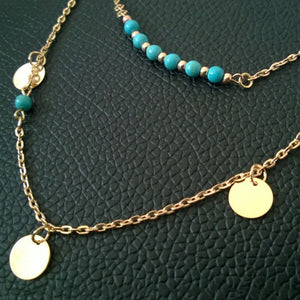 Women Fashion Jewelry Turquoise Pendant Chain Statement Bib Necklace