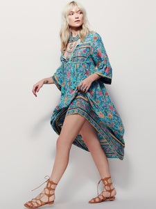 BOHO PEOPLE Plus Size Bohemia Maxi Dress 2019 New Arrival V Neck Botanic Floral Dress Ethnic Gypsy Style Hippie Vestido Women 5XL - The Rogue's Clothes