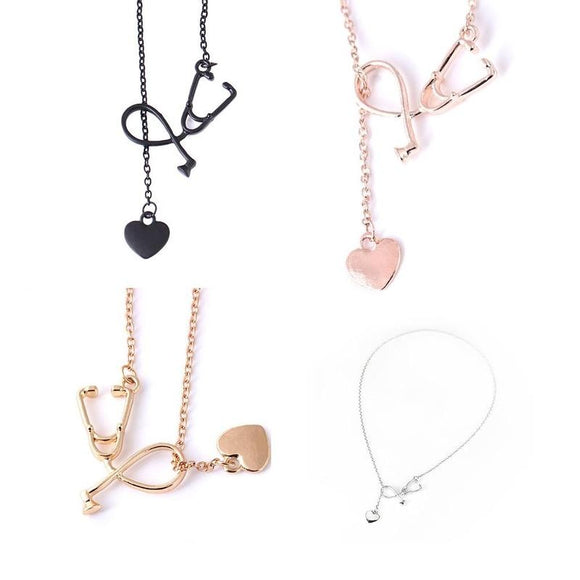 Nurse Doctor 18K Gold/Silver Medical Stethoscope Heart Collar Chain Necklace Jewelry Women Necklaces Pendants(4 Color)
