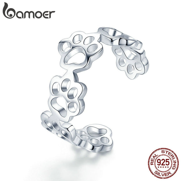 BAMOER Hot Sale 925 Sterling Silver Adjustable Cat And Dog Footprints Paw Trail Rings for Women Party Silver Jewelry SCR424 - The Rogue's Clothes