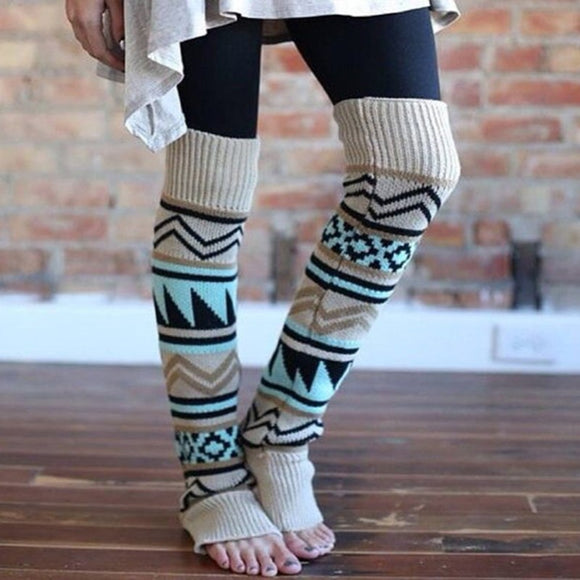 Winter Camouflage Bohemian Thicken  Leg Warmers Sleeve for Boots Covers