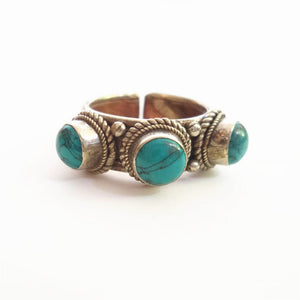 R167 Tibetan Rings Rose Copper Inlaid Three Simulated Turquoises Beads Rings Nepal Vintage Open Ring For Girls
