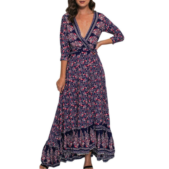 Women Printing Three Quarter Sleeve Sexy V Neck High Waist Boho Long Maxi Dress