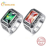 BONLAVIE 100% Pure 925 Sterling Silver Ring Vintage Men's Morganite Antique Square Nano Russian Emerald Rings Fine Jewelry Gift - The Rogue's Clothes