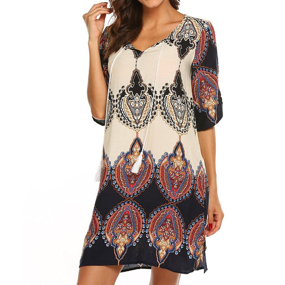Women Dress Vintage Style Printed Tassel Loose Fit Bohemian Dress