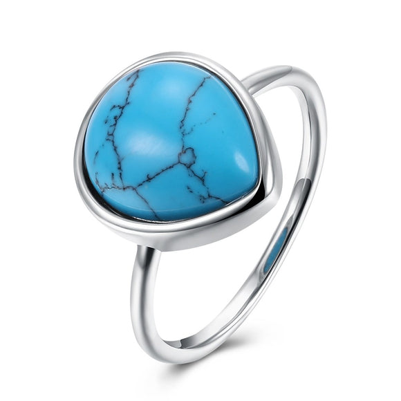 INALIS Brand Jewelry Women Turquoises Ring Oval Shape Gypsy Setting Blue Natural Stone Metal Charm Anniversary Ring for Wife