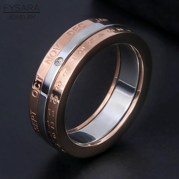 FYSARA Classic Design Rotation Calendar Date Ring Stainless Steel Rose Gold Silver Color Brand Three Layer Ring Women Jewelry