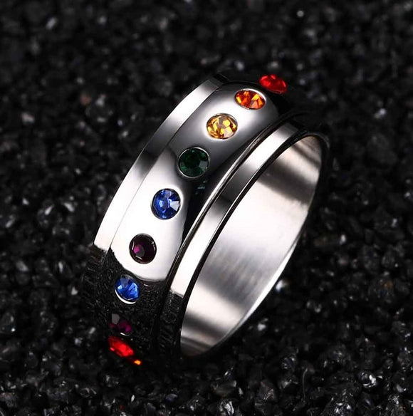 2018 Rushed Anel Masculino Ring Anel Fashion Rotating Spinner Ring For Women Stainless Steel With Rainbow Multicolor Rhinestone - The Rogue's Clothes