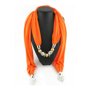 Ahmed Fashion Autumn and Winter Crystal Rose Pendant Scarf Necklace For Women New Heart Accessory  Neckerchief Scarves Jewelry