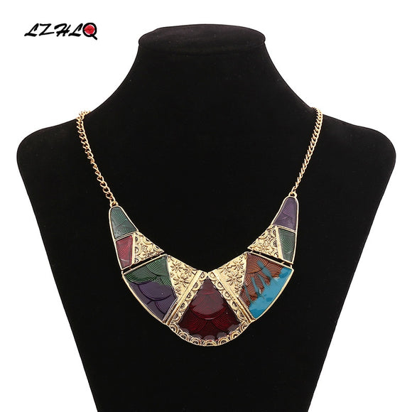 LZHLQ 2019 New big gypsy collar choker necklace pendant Jewelry Boho ethnic enamel maxi statement necklace Torques Kolye Collier