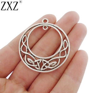 ZXZ 6pcs Antique Silver Tone Celtics Knot Dangle Connector Round Circle Charms Pendants for Jewelry Making Findings