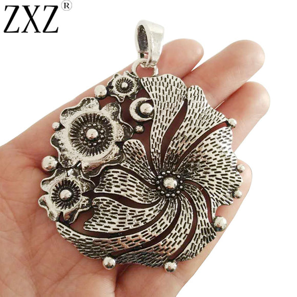 ZXZ 2pcs Antique Silver Large Boho Flower Charms Pendants for Necklace Jewelry Making Findings 68x65mm