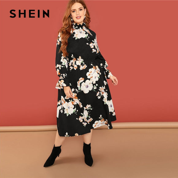 SHEIN Bohemian Flower Print Ruffle Sleeve And Stand Collar Black Floral Dress Plus Size Women Boho A-Line Long Dresses