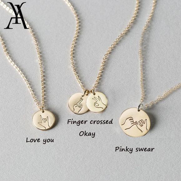 Hand Stamped Sign Language Sister Best Friends Necklace I Love You Pinky Swear Hand Gestures Pendant Necklace Friendship Jewelry