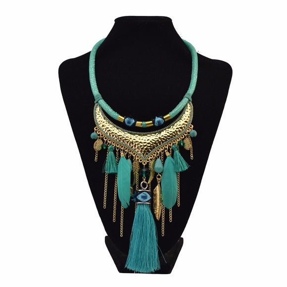 Bohemian Ethnic Thread Long Tassel Bib Necklaces African String Beads Feather Wing Maxi Necklace Statement For Women Jelwery - The Rogue's Clothes