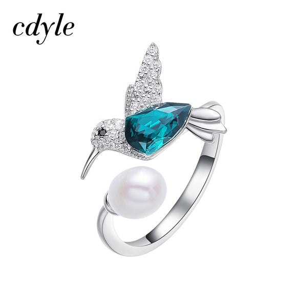 Cdyle Crystals from Swarovski Hummingbird Open Ring Resizable Green Bird Stone Finger Pearl Ring For Women Wedding/Birthday Gift - The Rogue's Clothes