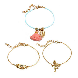 17KM 3 Pcs/Set Bohemian Bird Tassel Charm Bracelets Set For Women Multilayer Shell Watermelon Chain Rope Bracelet Jewelry Gifts - The Rogue's Clothes