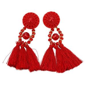 Fashion Women Rhinestone Long Tassel Dangle Earring Boho Fringe Drop Earrings