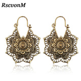 RscvonM Indian Tribal Brass Earring Dangle Drop Earring Flower Lotus Ornate Swirl Gypsy Earring For Women Boho Vintage Earring