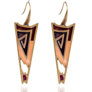 Fashion Unique Design Vintage Enamel Earring Colorful Ethnic Bohemian Long Geometric Earring for Women Ancient Bronze Jewelry
