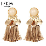 17KM Bohemian Round Tassel Drop Earrings For Women 7 Color Long Fabric Pendant Dangle Earring Fabric Statement Ethnic Jewelry - The Rogue's Clothes