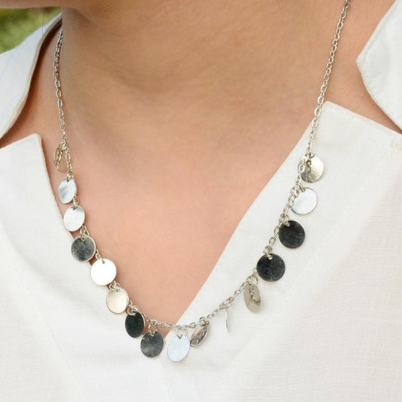 Women Jewelry Bohemian Metal Sequins Chain Necklace