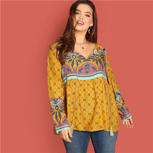 SHEIN Ginger Bohemian Tassel Tied Neck Mixed Print Plus Size Blouse Women Indie Folk Paisley Pattern Fringe Detail Top Blouses