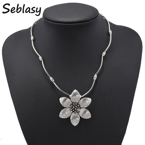 Seblasy Vintage Bohemian Big Flower Statement Necklaces & Pendants for Women Jewelry Accessories Tibet Silver Color Bijuterias