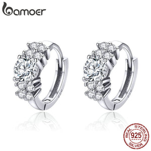 BAMOER 925 Sterling Silver Crystal Round Circle Clear Cubic Zircon Hoop Earrings for Women Sterling Silver Jewelry SCE485 - The Rogue's Clothes