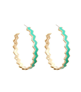 Zigzag Hoop Earrings Color-Turquoise