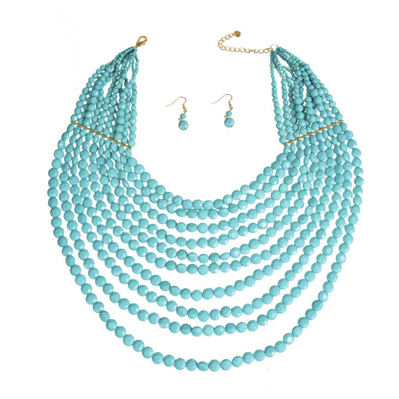 Turquoise Bead Layered Necklace Sets
