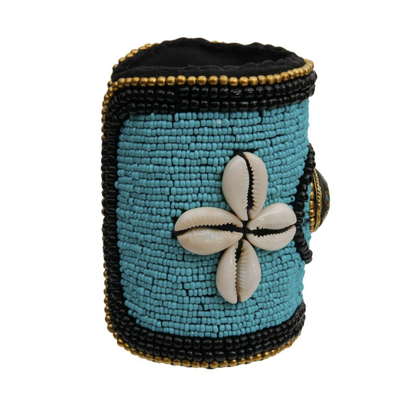 Turquoise Tribal Beaded Cuff with Cowrie Shells and Turquoise Mosaic Detail