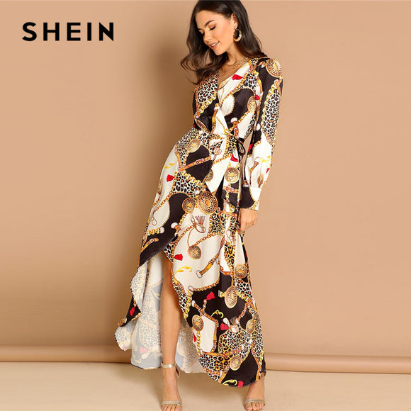SHEIN Multicolor Mixed Print Surplice Wrap Satin Dress Deep V Neck Long Sleeve Women Autumn Maxi Fit and Flare Elegant Dresses