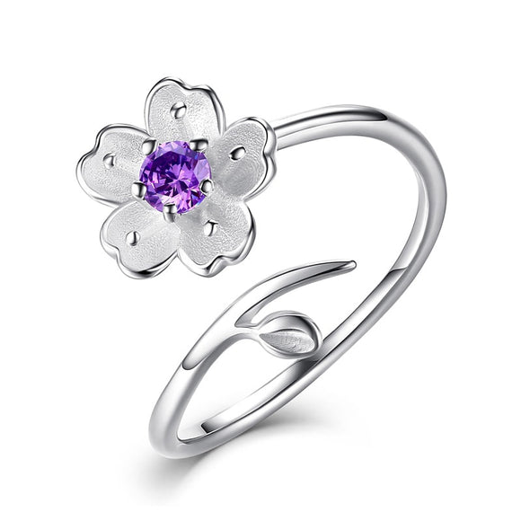 New LNRRABC Elegant Purple Pink Flowers Finger Rings Stainless Steel Rings For Women Crystal Ring Fashion Jewelry Dropshipping