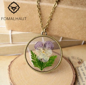 FOMALHAUT pansy Jewelry Crystal flower Glass Necklace Leather Chain Pendant Necklaces For Women XX-47