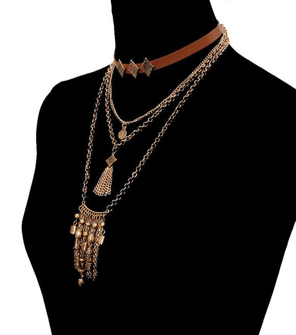 Bohemian Choker Set Color-Brown - The Rogue's Clothes