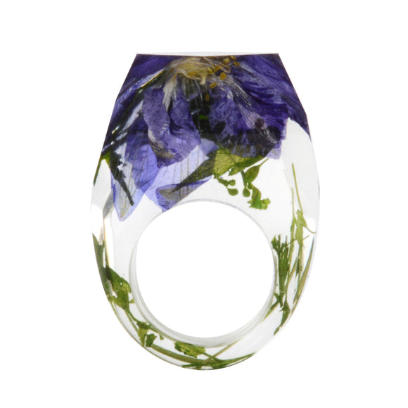 New Transparent Forest Handmade Dried Flower Resin Ring Colorful Ink Pattern Scenery for Women Fashion Jewelry Ring