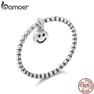 BAMOER Hot Sale 100% 925 Sterling Silver Lovely Smile Face Dangle Finger Rings for Women Sterling Silver Jewelry Gift SCR147 - The Rogue's Clothes