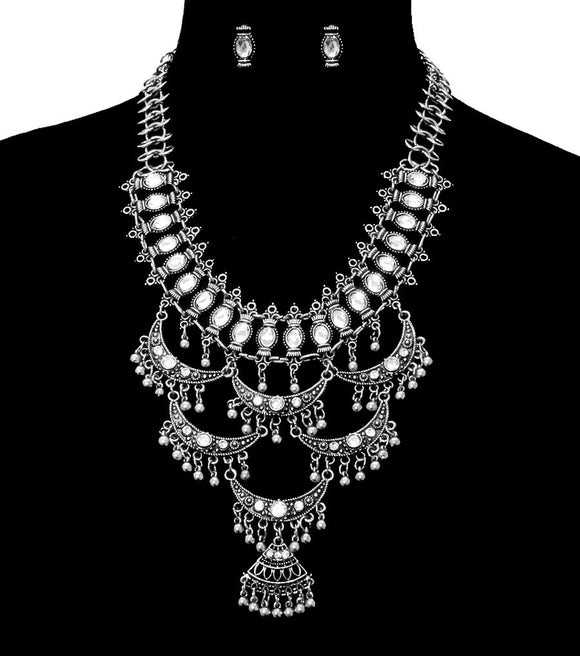 Antique Silver and Rhinestone BOHO Necklace Set - The Rogue's Clothes